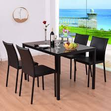 Steel Tables And Chairs Combined Glass Design Dining Sets