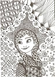 Zentangled Princesses Anna By Crystal Of Ixdeviantart On Coloring For KidsAdult ColoringColoring PagesFrozen