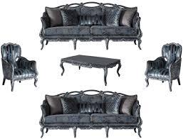 casa padrino luxus barock wohnzimmer set grau blau grau 2 sofas 2 sessel 1 couchtisch prunkvolle wohnzimmer möbel im barockstil