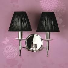 stanford nickel wall light with black shades light innovation