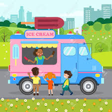 100 Truck Store Ice Cream Flat Vector Illustration Happy Young