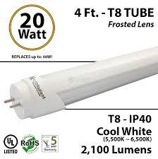 20w 4ft led 2100lm t8 6000k frosted ul dlc ledradiant