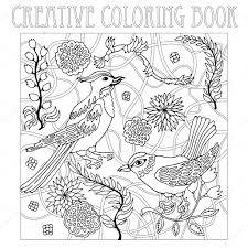 Paradise Birds In Japanese Garden Creative Coloring Book Inspired By Zentangle Art Stock