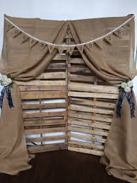 Country Burlap And Wooden Palette Wedding Photo Booth Backdrop