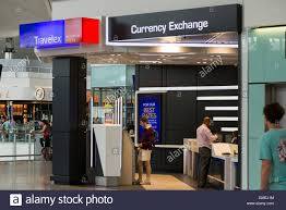 bureau de change office operated by travelex at heathrow airport