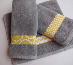 Gray Chevron Bathroom Set by Yellow And Gray Chevron Bathroom Towels Set Of Two Yellow And