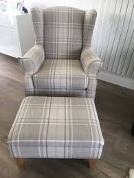 latte tartan fabric winged back chair fireside chair with