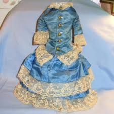 Small Size Antique Blue Cotton Gingham Doll Dress Hattons Gallery