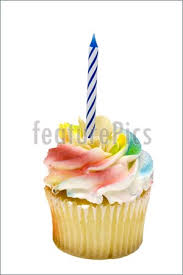 Funny and colorful cupcake with candle isolated on white background with clipping path