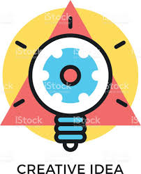 creative idea icon glowing light bulb with gear inside and