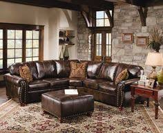 Rustic Leather Sectional Sofa Dark Brown Colored Sofas Medium Size Three Browns Pillows Fluffy Carpet Makes