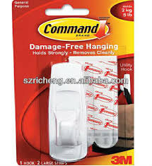 3M Command Removable Adhesive Utility Wall Stick Hook 5 Lb Capacity Plastic
