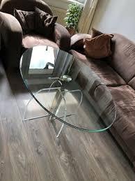 massiver glastisch für wohnzimmer oval höhenverstellbar