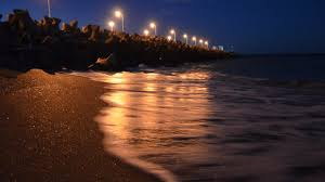 Beach Night Light Sea Black Wallpaper 4k