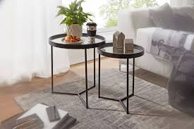 wohnling design beistelltisch rund ø 50 36 cm 2 teilig schwarz mit spiegel glasplatte wohnzimmertisch 2er set satztisch verspiegelt couchtisch