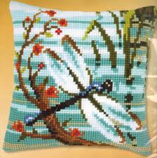 Vervaco Dragonfly Pillow Needlepoint Kit 123Stitch