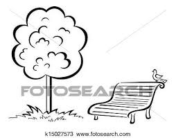 Drawing of Bird on park bench and tree contour k Search
