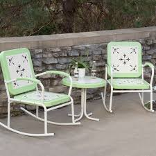 Mint Green Retro Patio 3 Piece Metal Rocker Rocking Chair Set | New ... Retro Metal Outdoor Rocking Chair Collectors Weekly Patio Pub Table Set Bar Height And Chairs Vintage Deck Coral Coast Paradise Cove Glider Loveseat Repaint Old Diy Paint Outdoor Metal Motel Chairs Antique And 892 For Sale At 1stdibs The 24 Luxury Fernando Rees Small Wrought Iron Etsy Image 20 Best Amazoncom Lawn Tulip 50s Style Polywood Rocking Mainstays Red Seats 2 Home Decor Ideas