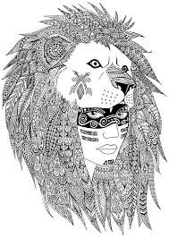 A Leader Of Native American Tribe Maked With Hearts And Zentangles