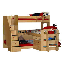 triple low bunk bed for kids design with stairs and plenty storage