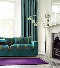Teal Living Room Decor On Sofa And Curtain With Purple Rug