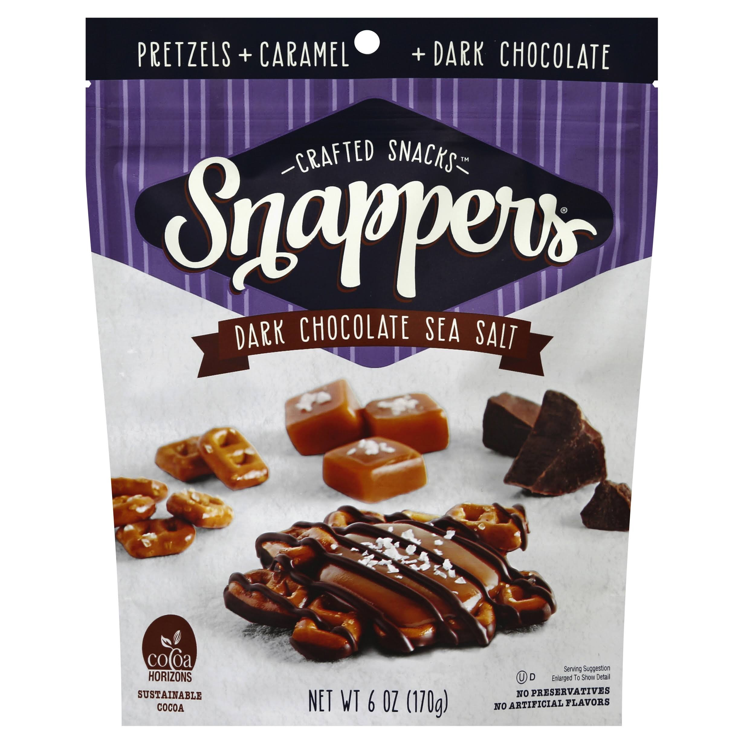 Snappers Dark Chocolate Pretzel - Sea Salt Crunchy Sweet Caramel, 6oz