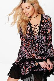 kylie lace up flute sleeve printed dress boohoo