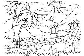 Nature Coloring Pages Volcano And Jungle