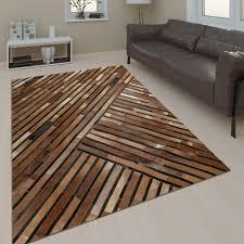 wohnzimmer teppich leder wolle muster streifen