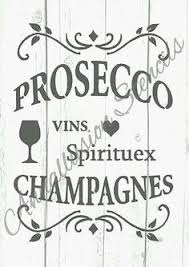 A4 French Vintage Shabby Chic Wine Prosecco Drinks Stencil 190 Micron MYLAR