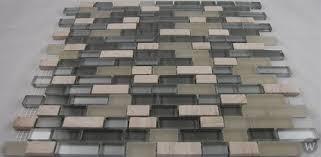 soho studio fusion glass tile mosaic brick silver mist blend