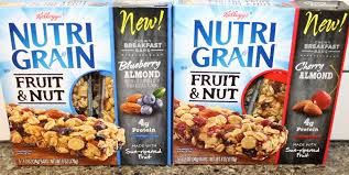 Kelloggs Nutri Grain Fruit Nut Blueberry Almond Cherry Chewy Breakfast Bars Review