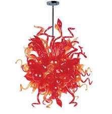 LR1157 Red Popular Blown Glass Chandelier For Sale Modern Hand Lighting Hotel Price Chihuly Style