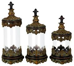 French Set Of 3 Glass Canister Jars Bronze Fleur De Lis Kitchen Decor 43169 Mediterranean