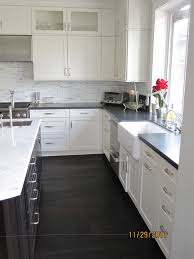 Kitchens With White Cabinets And Dark Floors Kitchen Granite Countertops Cupboard Brown Beige Grey Tiles