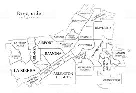 Modern City Map Riverside California Of The Usa With