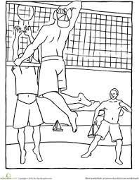 Kindergarten Holidays Seasons Worksheets Beach Volleyball Coloring Page