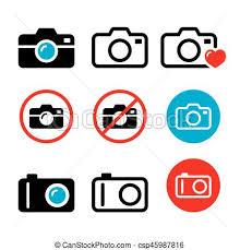 Camera Taking s No Camera Sign Vector Icons Set
