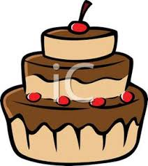 Cherries on Top of a Chocolate Cake with Chocolate Frosting Clipart