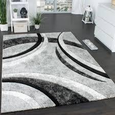 designer teppich grau schwarz creme meliert