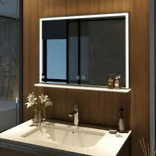 details zu led badspiegel mit ablage und beleuchtung 80x60 cm wandspiegel mit regal touch