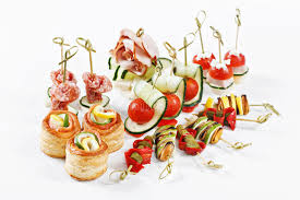 canapes for set of canapes for one person with vegetables cheese frui