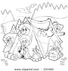Kids Camping Coloring Pages