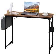 azkoeesy computertisch bürotisch arbeitstisch 100 x 50 x 75 cm mit aufbewahrungstasche hake wohnzimmer pc tisch vintagebraun