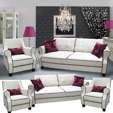 jaqueline couchgarnitur 2 sitzer schlafcouch mit 2 sesseln weiß schwarz