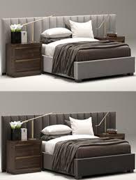 RH Modern custom vertical channel extended headboard bed