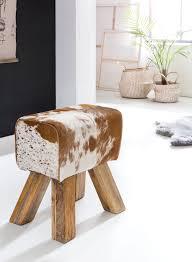 wohnling design turnbock sitzhocker ziegenfell braun weiß 40 x 30 x 47 cm turnhocker hocker fellhocker springbock beistellhocker fußhocker