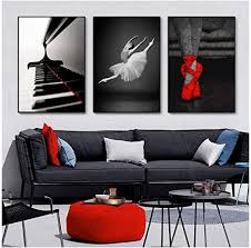 mulmf moderne schwarz weiß balletttänzer leinwand gemälde