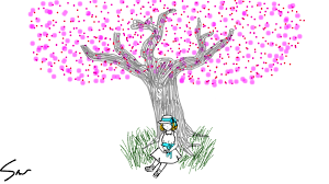 Cherry Blossom Tree the girl at the base is from my drawing Windy