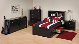 teenage bedroom black leather cover bed frame small wooden